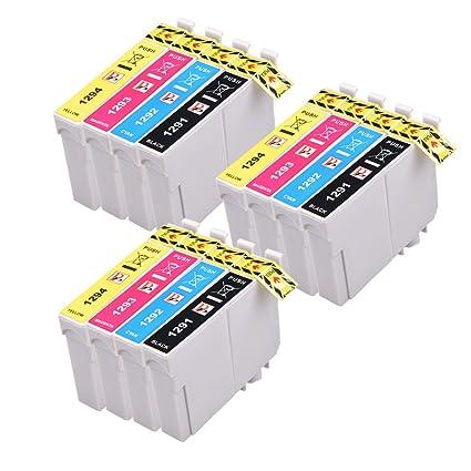 PerfectPrint - 12 compatibles cartuchos de tinta T1295 Para Impresora Epson Stylus SX230 SX235W SX420W SX425W SX435W SX440 SX445W SX525WD SX535WD ...
