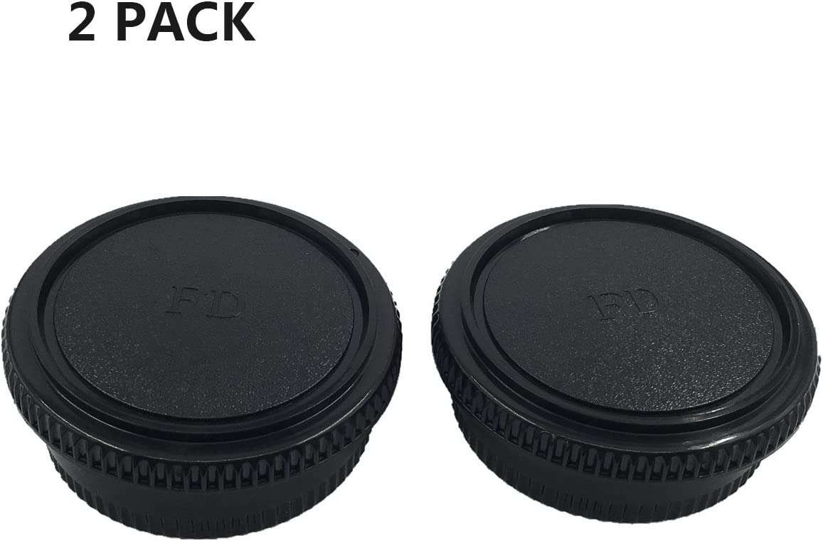 LXH 2 Pack Front Camera Body Cap and Rear Lens Cap Cover for Canon FD
