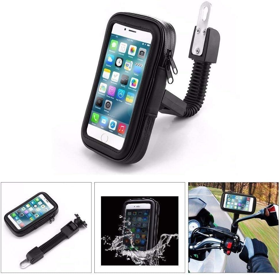 Partner Tele, Funda Teléfono Móvil, GPS, Smartphone para Moto, Scooter para El Espejo - Compatible con iPhone 6 Plus/7 Plus, Samsung Galaxy Note 3/4/5/S8/S8+/S9/S9+, Huawei Mate 9/P10 Plus - Negro