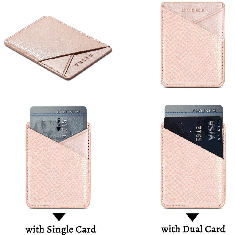 Cell Phone Card Holder, Stick on Wallet for Back of Phone, 3M Adhesive Ultra Slim Phone Pocket ID Credit Card Holder Sleeves Pouch Compatible iPhone, Samsung Galaxy, All Smartphones (Grey/Pink) by TOPWOOZU (Image #4)