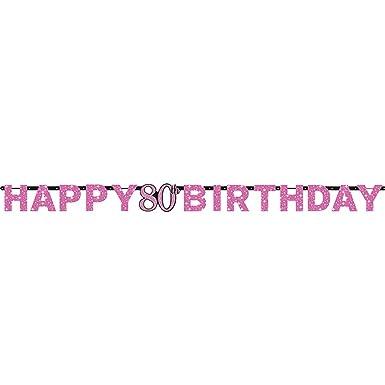 amscan - Guirnalda rosa celebración 80 cumpleaños (2.13m ...