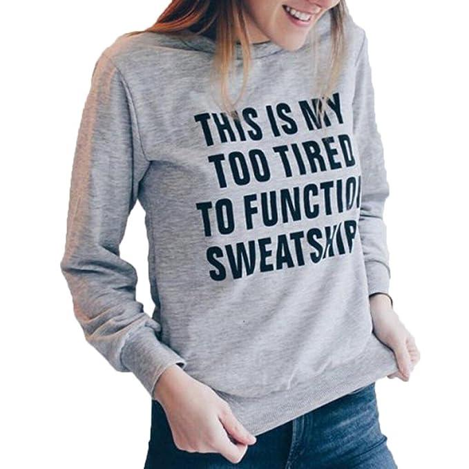 Bekleidung Longra❤ ❤ Longra Damen Sweatshirt Damen Pullover  Rundhalspullover Sweatjacke Langarmshirts Brief Print 5c8870a993