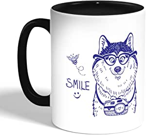 Printed Coffee Mug, Black, smile