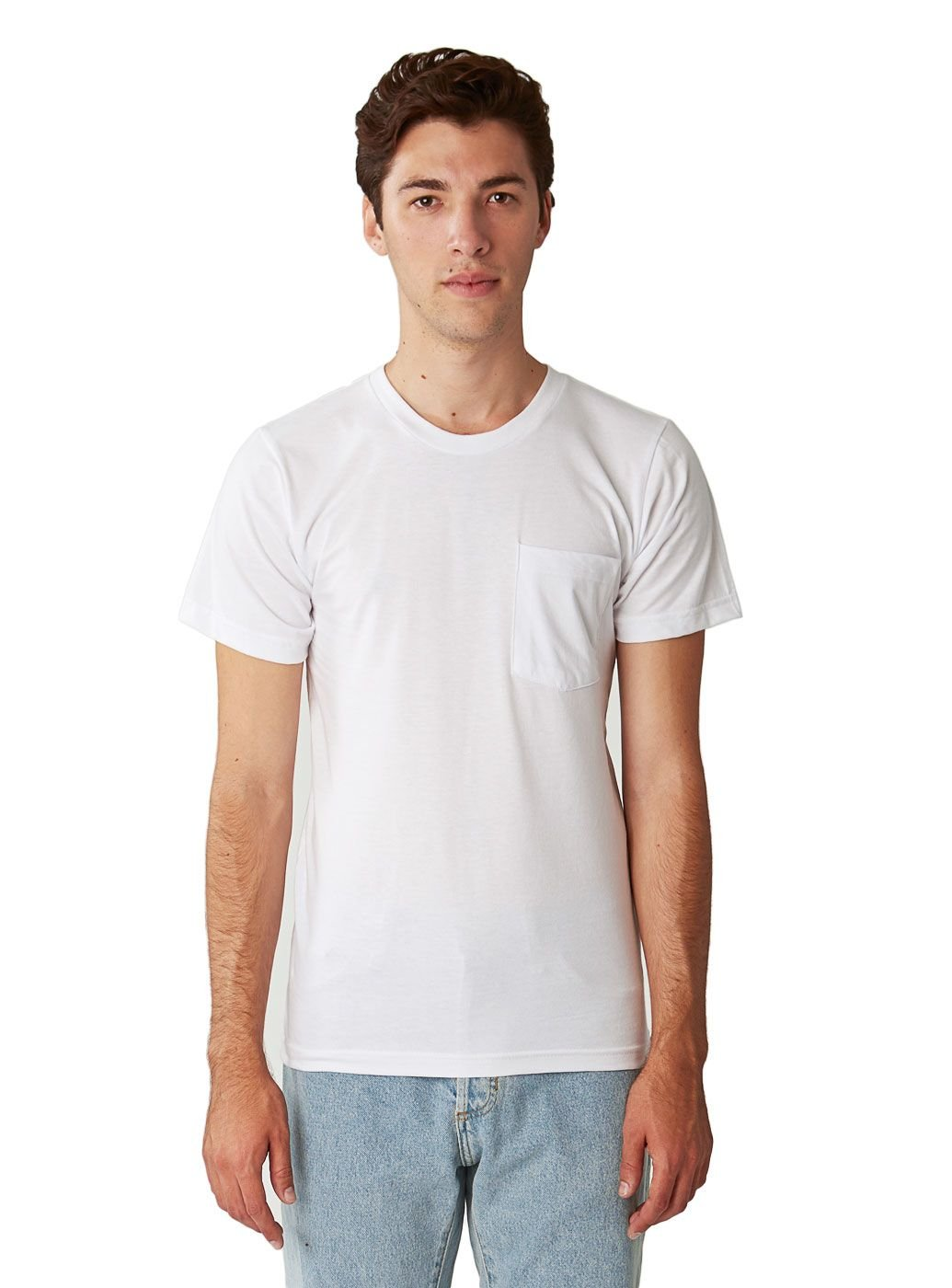 American Apparel Men Fine Jersey Crewneck Pocket T-Shirt Size M White by American Apparel (Image #1)