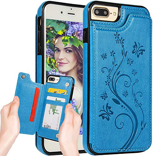 iPhone 8 Wallet Case for Women,iPhone 7 Leather Case with Card Holder,Auker Kickstand Butterfly Embossed Design Flip Flop Leather Secure Fit Slim Magnetic Wallet Purse Case with Money Pocket -