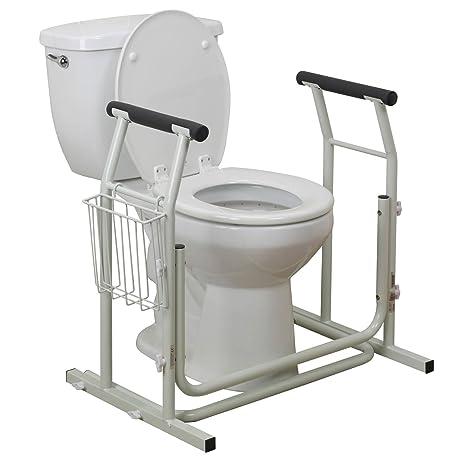 TheBathMart Potty Rails Bathroom Toilet Safety Assist Frame W/ Grab Bars U0026  Railings For Elderly