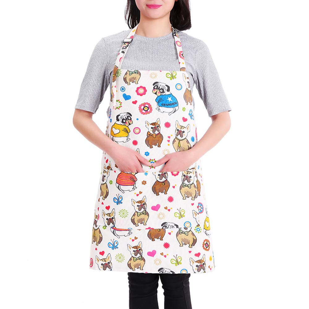 MissOwl Adjustable Work Apron Waterproof with 2 Pockets Kitchen for Women Grape DOMINEERING