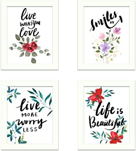 Framed Beautiful Flower Sayings and Quotes Canvas Art Prints, Set of 4 Lovely Decor Wall Artwork, Printing Flower Lettering Modern Colorful Poster for Bedroom Living Room Office Home Decoration 8x10
