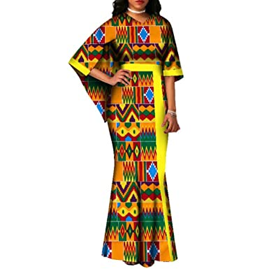 933f80d245d4 Amazon.com: Womens Wedding Party V Neck Cape Sleeve African Print Mermaid  Dresses Gown: Clothing