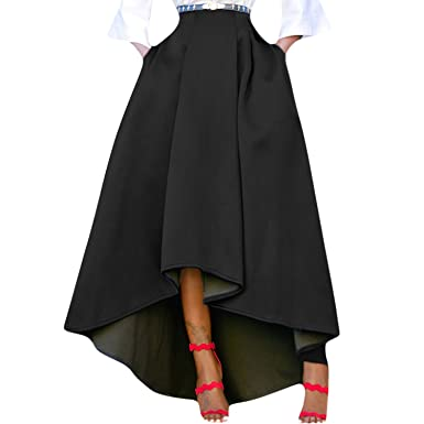 b0c543ed2b semen Ladies Women High Waisted Irregular A-Line Pleated Long Maxi Skirt:  Amazon.co.uk: Clothing