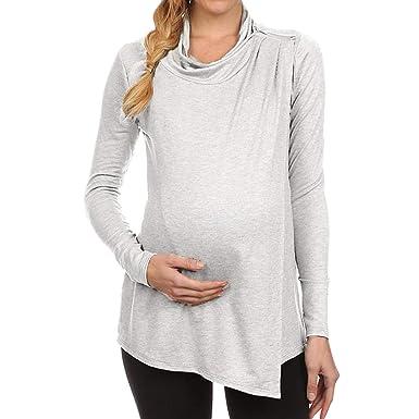 Hibote Ropa para Mujeres Embarazadas Camisetas sin Mangas Manga Larga Casual Cremallera Camisetas Embarazadas Sexy Maternidad Tops: Amazon.es: Ropa y ...