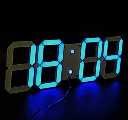 Amazoncom LambTown Large Blue Display Led Wall Clock with Remote