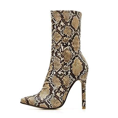 POLPqeD Zapatos Mujer otoño 2018 Botines Mujer Invierno Calzado Mujer con Cordones Botas Altas Tacon Botines