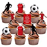 Arsenal Party Pack, 36 Cup Cake Toppers - Edible Stand Up Decorations by AKGifts