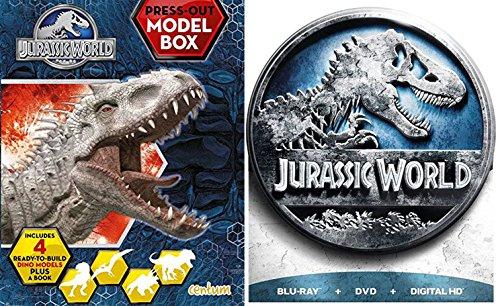 Jurassic World Limited Edition DVD + Blu Ray + Dinosaur Models & Book Movie Bundle Box Set