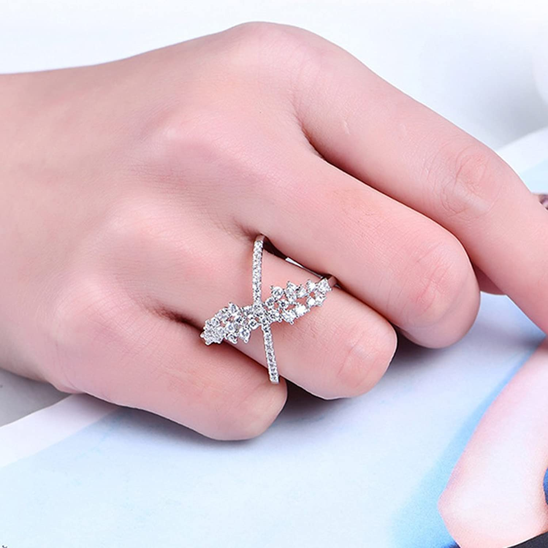 Amazon.com: Sanwood Shiny Zircon Silver Plated Cross Finger Ring ...