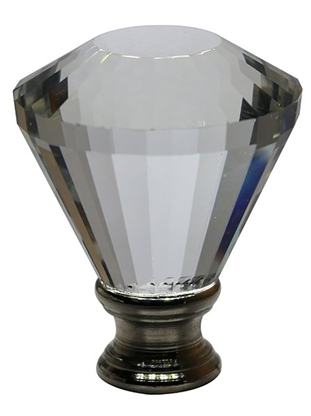 Urbanest Crystal Diana Lamp Finial, Brushed Steel, 2-inch Tall