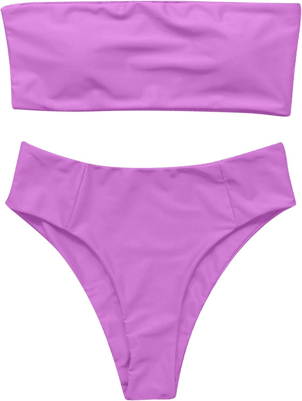 OMKAGI Womens 2 Pieces Bandeau Bikini Swimsuits Off Shoulder High Waist Bathing Suit High Cut