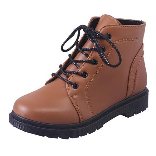 Botas Militares Botines Planos para Mujer Otoño Invierno PAOLIAN Moda Calzado de Cuero Dama Botines con Cordones Bajos Zapatos Piel Marrón Talla Grande ...
