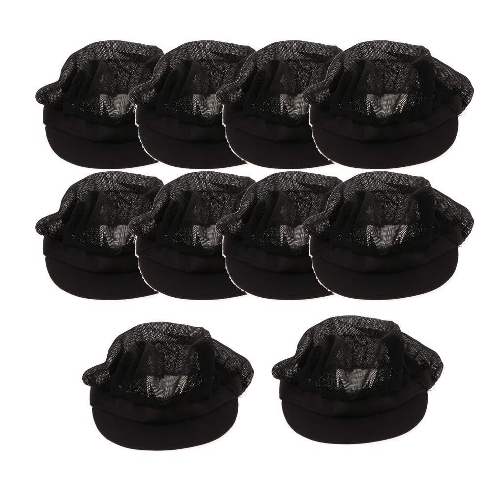 Gazechimp Chef Hat, Set of 10 Adult Adjustable Elastic Baker Hats, Kitchen Catering Cooking Chef Cap (Black) by Gazechimp