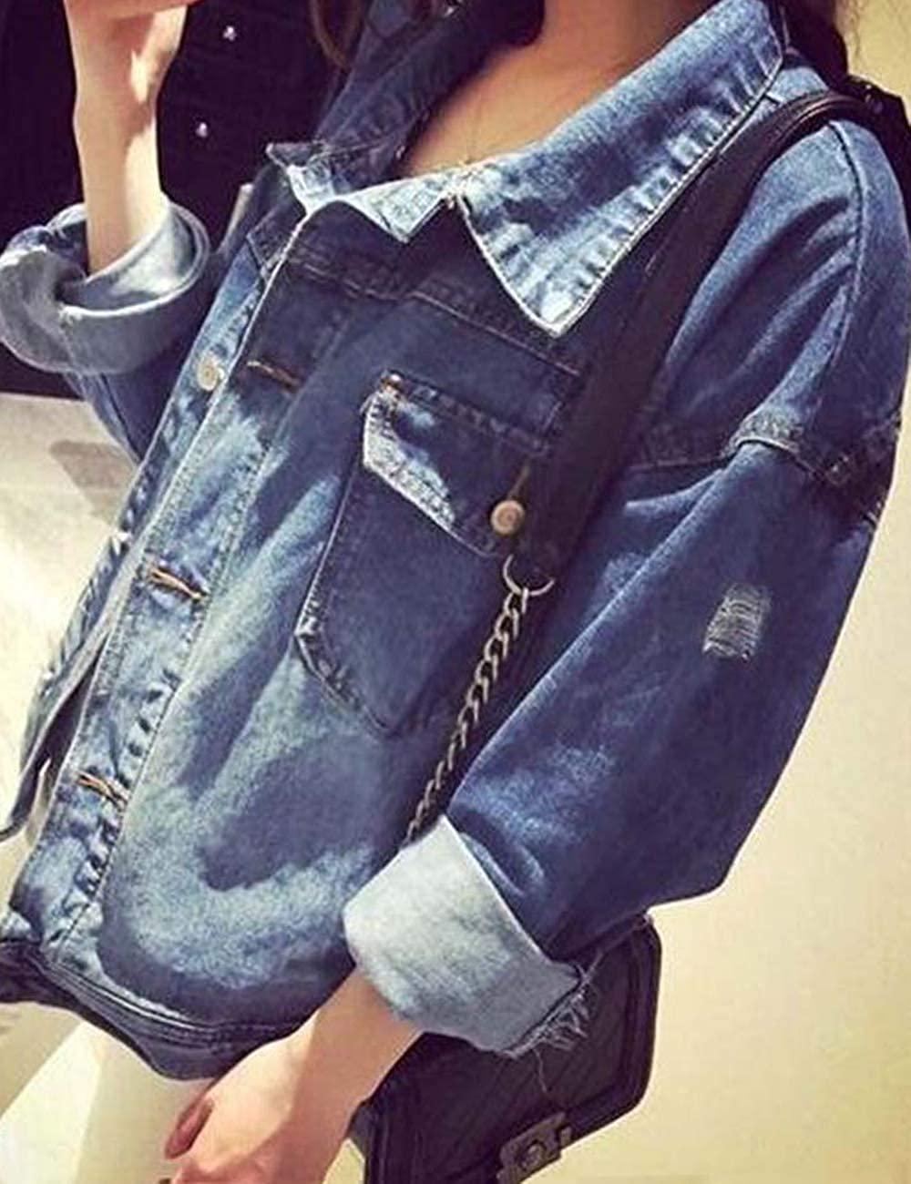 Billie Eilish Jacke Damen Teenager M/ädchen Mode Denim Jacket Frauen Coole Jeans Jacket Pullover Hip Hop Denim Winterjacke Sport J/äckchen Casual Sweatshirt Mantel Outwear Pulli Shirts Tops
