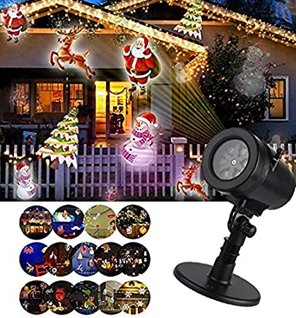 christmas led projector light decorations 14 slides multi led waterproof projection lights lamphalloween - Halloween Christmas Decorations