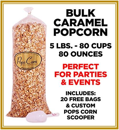 Pops Corn BULK/WHOLESALE CARAMEL POPCORN- 5 LBS-80 CUPS-80 OZ- FREE SCOOPER!!