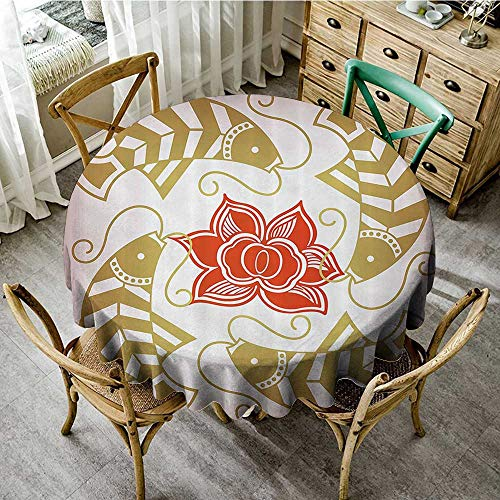 familytaste Tablecloths for Restaurant Asian Decor,Feng Shui Japanese Chinese Asian Themed Fish with Flower Artwork,Gold and Scarlet Red D 54