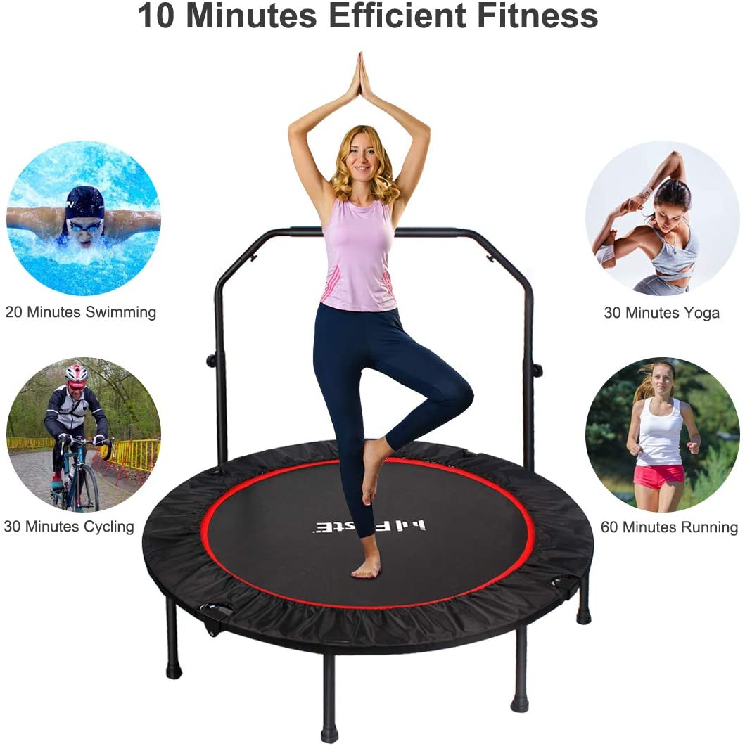Max 330LB Load Shape Fit Core Indoor Trampoline Wireless Jump Rope /& Resistance Band Included 3in1 Workout with Carry Bag 48 inches Easily Foldable /& Portable Height Adjustable Foam Handle bar