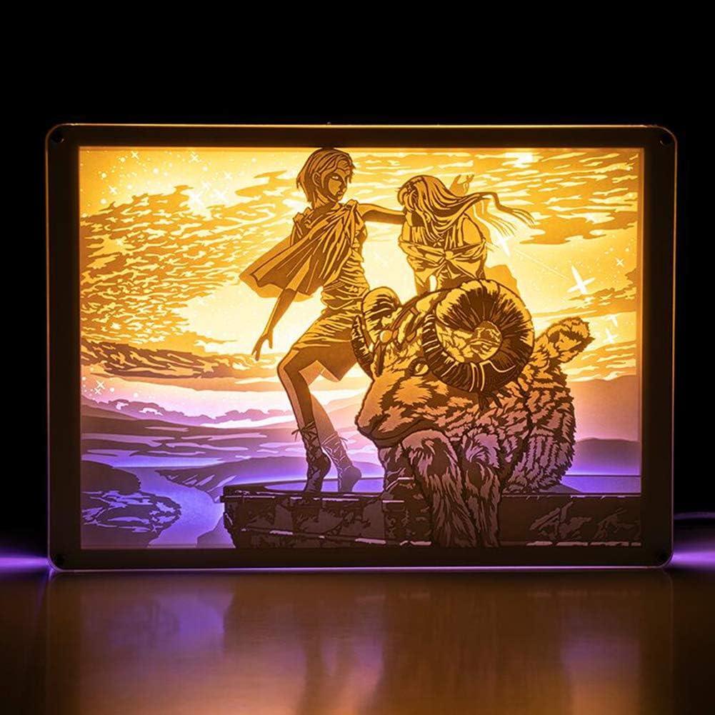 JZH-Light 3D LED Doce Constelaciones Aries Luz Nocturna, lámparas de decoración lámpara de ilusión niños y decoración habitación,Remote Control: Amazon.es: Hogar