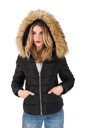 b7d416be2a Arkind Femme Manteau Automne Hiver Jacket Court Veste à Capuche Fourrure  Fausse Chaud Doudoune Blouson Parka