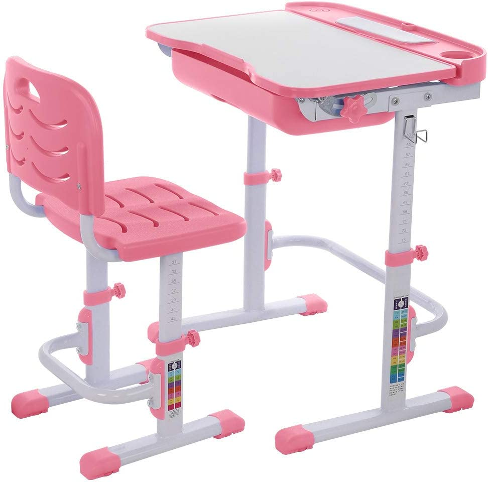 Children Desk and Chair Set, Children Study Table Height Adjustable Kids Desk Ergonomic Design School Students Writing Desk Tilt Desktop Storage Drawer Bookstand for Boys & Girls,Pink