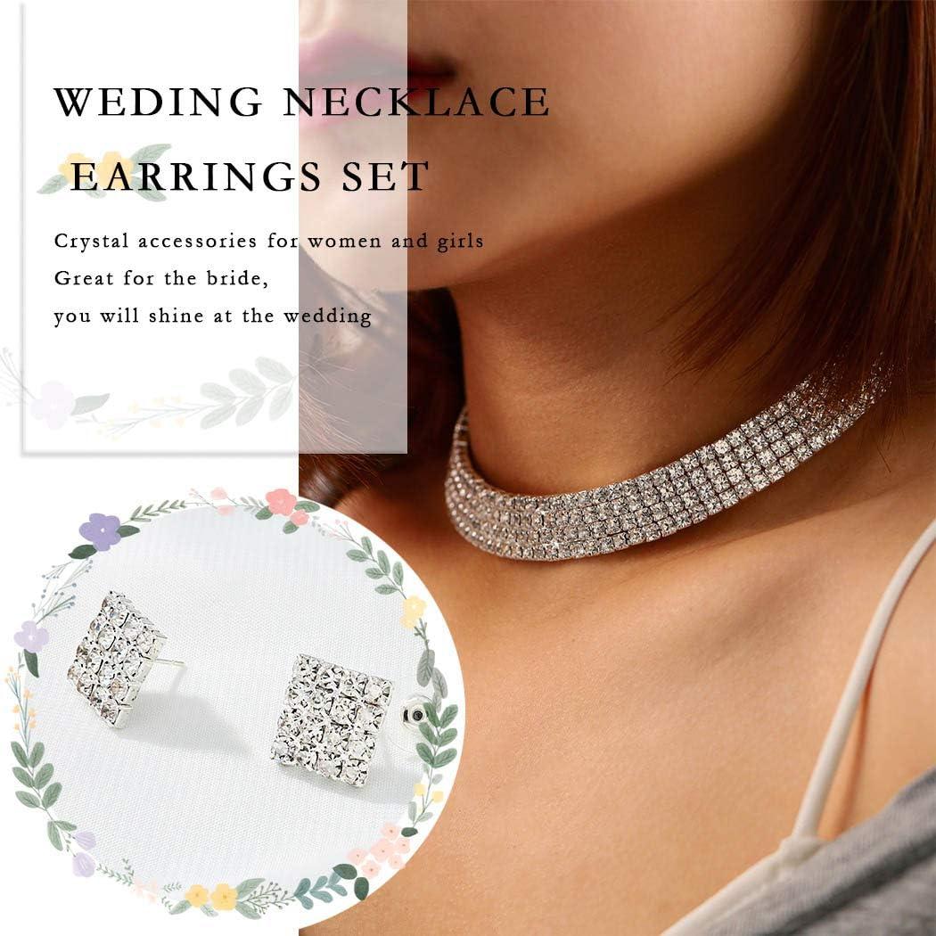 Unicra Braut Hochzeit Halskette Ohrringe Set Strass Silber Schmuck Set Silber Brautschmuck Choker f/ür Damen und M/ädchen