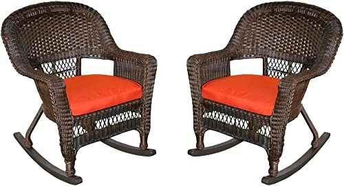 Jeco Rocker Wicker Chair with Red Cushion, Set of 2, Espresso