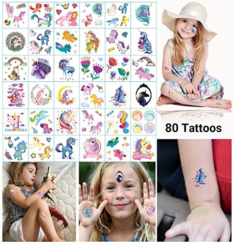 Dream Loom Temporary Tattoos for Kids Birthday Party , Unicorn Party Supplies Party Favors,Removable Tattoos Stickers for Girls Boys (Unicorn Tattoos,80tattoos) -