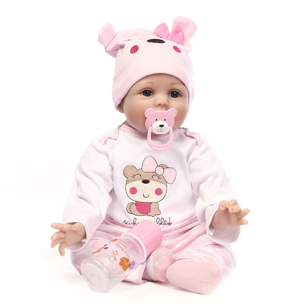 Crewell NPK 55, 9cm lebensecht Silikon Reborn Baby-Puppe Spielzeug Realistische Neugeborene Puppen für Kinder Spielteppich Geschenk