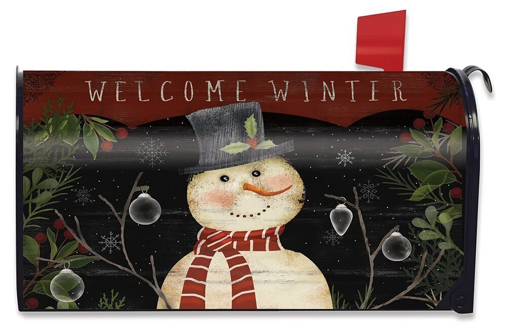 Briarwood Lane Welcome Winter Snowman Magnetic Mailbox Cover Primitive Standard