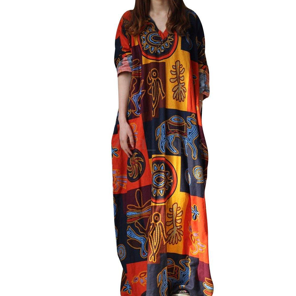 iHPH7 Puls Size Retro V Collar Long Sleeve Printed Cotton Linen Dress