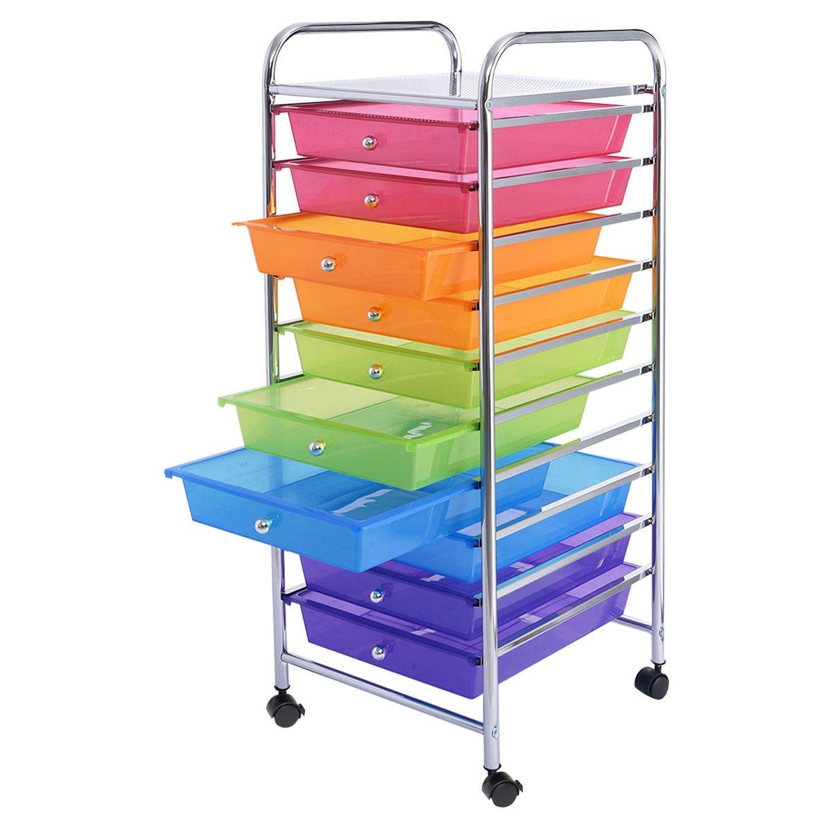 10 Rainbow Drawer Lockable Wheel Office School Scrapbook Organizer Rolling Paper Storage Cart with 4 Caster
