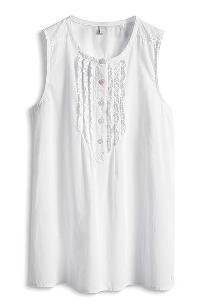 Esprit Bluse - Blusa de sin mangas para niña, color blanco 100, talla 8