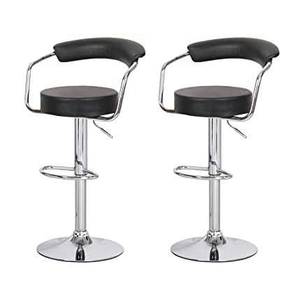 Awesome Asense Black Swivel Leathrette Mordern Adjustable Barstool Chair With Back Set Of Two Machost Co Dining Chair Design Ideas Machostcouk
