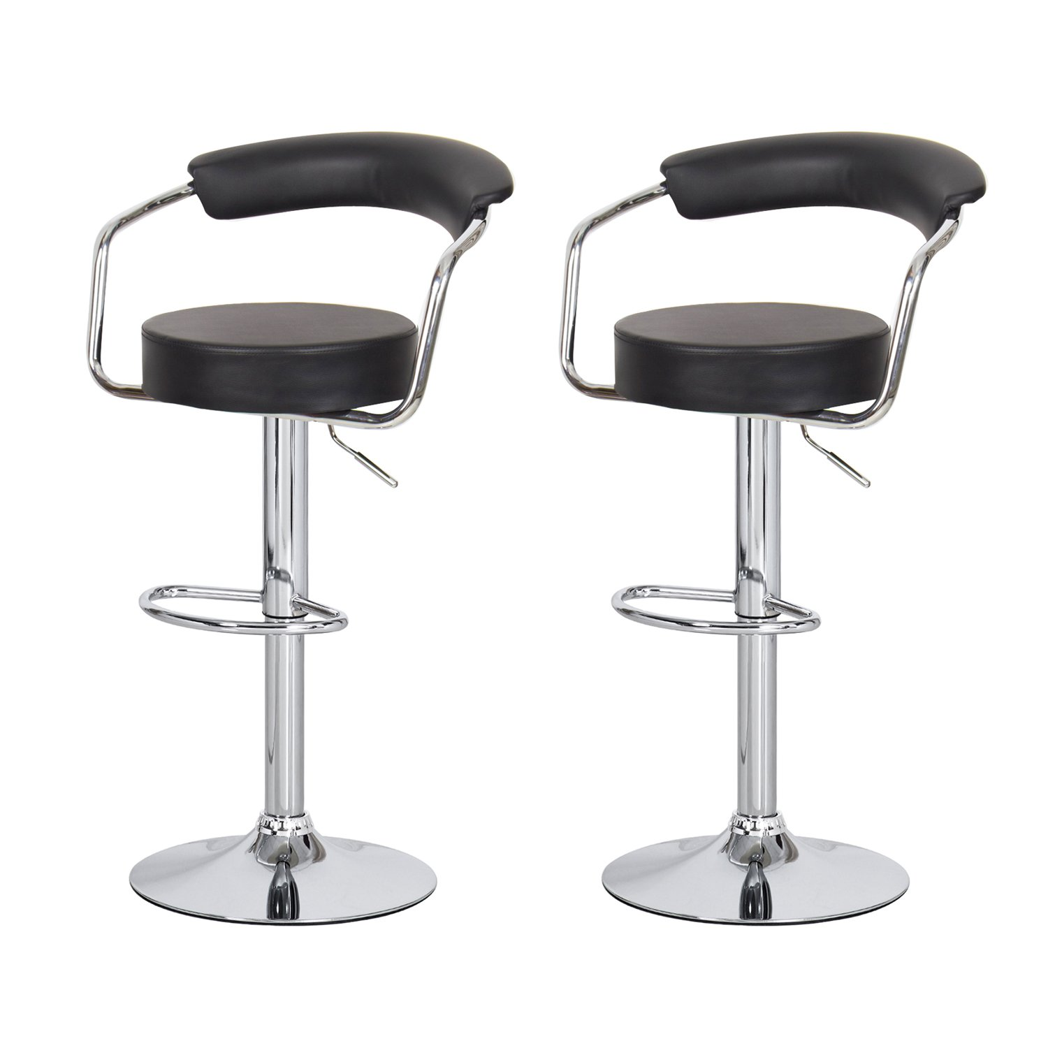 Asense Black Swivel Leathrette Mordern Adjustable Barstool Chair with Back(set of Two)