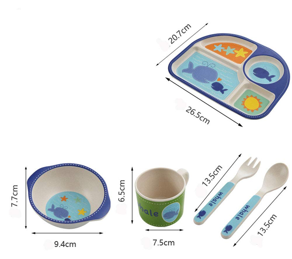 Qia 5-Piece Bamboo Dinner Set for Children, Kids Set Includes - Eco Friendly,A