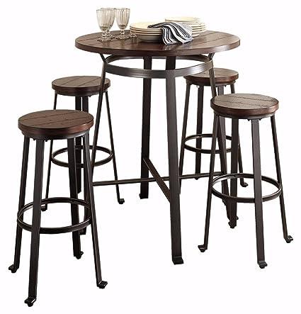 Ashley Furniture Signature Design   Challiman 5 Piece Dining Room Bar Set    Pub Height