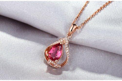 GOWE 1.01ct Pink Pear Cut Tourmaline & Diamond Real 14k Gold Beautiful Engagement Pendant 2
