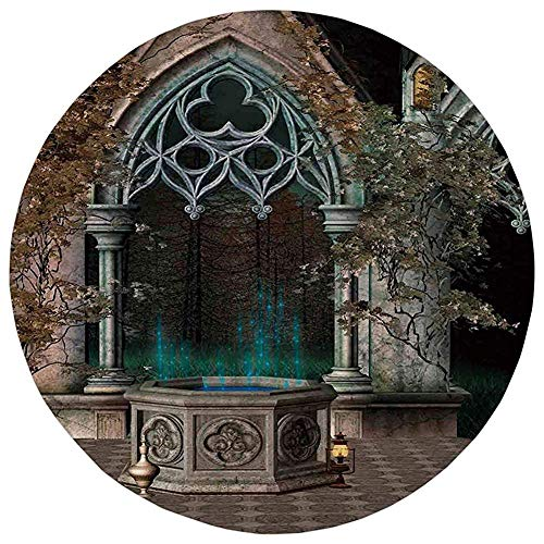 KKONEDS Round Rug Mat Carpet,Gothic,Mystical Patio with Enchanted Wishing Well Ivy on Antique Gateway to Magical Forest,Grey Teal,Flannel Microfiber Non-Slip Soft Absorbent,for Kitchen Floor Bathroom ()