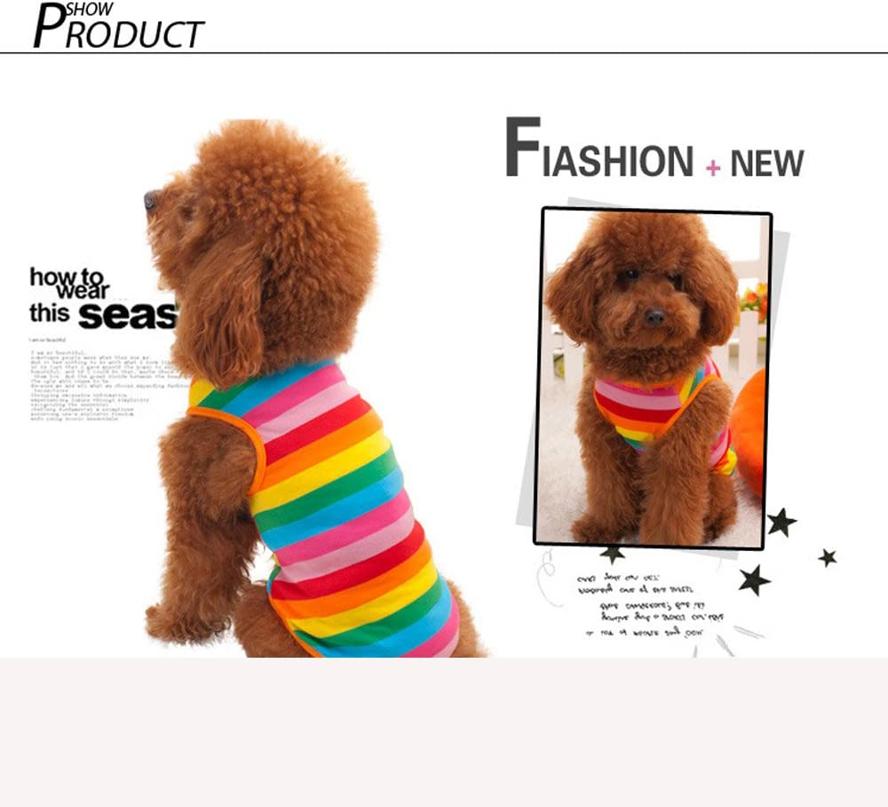 M Hua Xin Puppy T-Shirt,Rainbow Stripe Pet Vest Breathable Summer Cotton Sleeveless T-Shirt Dog Cat Costume