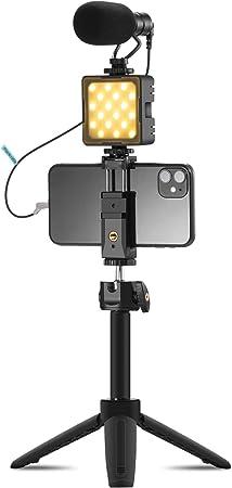Todo para el streamer: Kit de Video Rig Vlog Cámara de Teléfono Inteligente VK8 Vlogging Kit Compatible con Micrófono de Escopeta Ajuste de luz LED Trípode Soporte para Teléfono Compatible para Teléfono DSLR Youtube Vlog