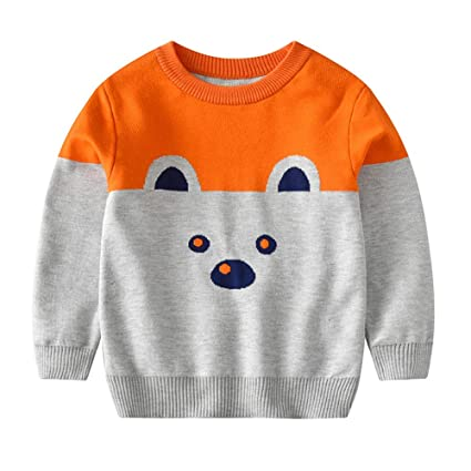 Weentop Kids Boys Cartoon Bear Knit Pullover Sweater Baby Cotton Manga Larga Cuello Redondo Espesar Sudadera