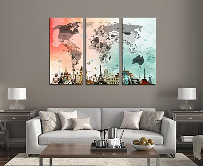 HLJ Art Colorful World Map Eiffel Tower Statue of Liberty